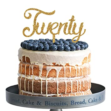 Amazon Twenty Happy Birthday Cake Topper Gold Glitter Acrylic