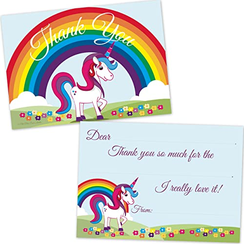 Rainbow Unicorn Kids Birthday Fill In Thank You Cards (10 Count with Envelopes)