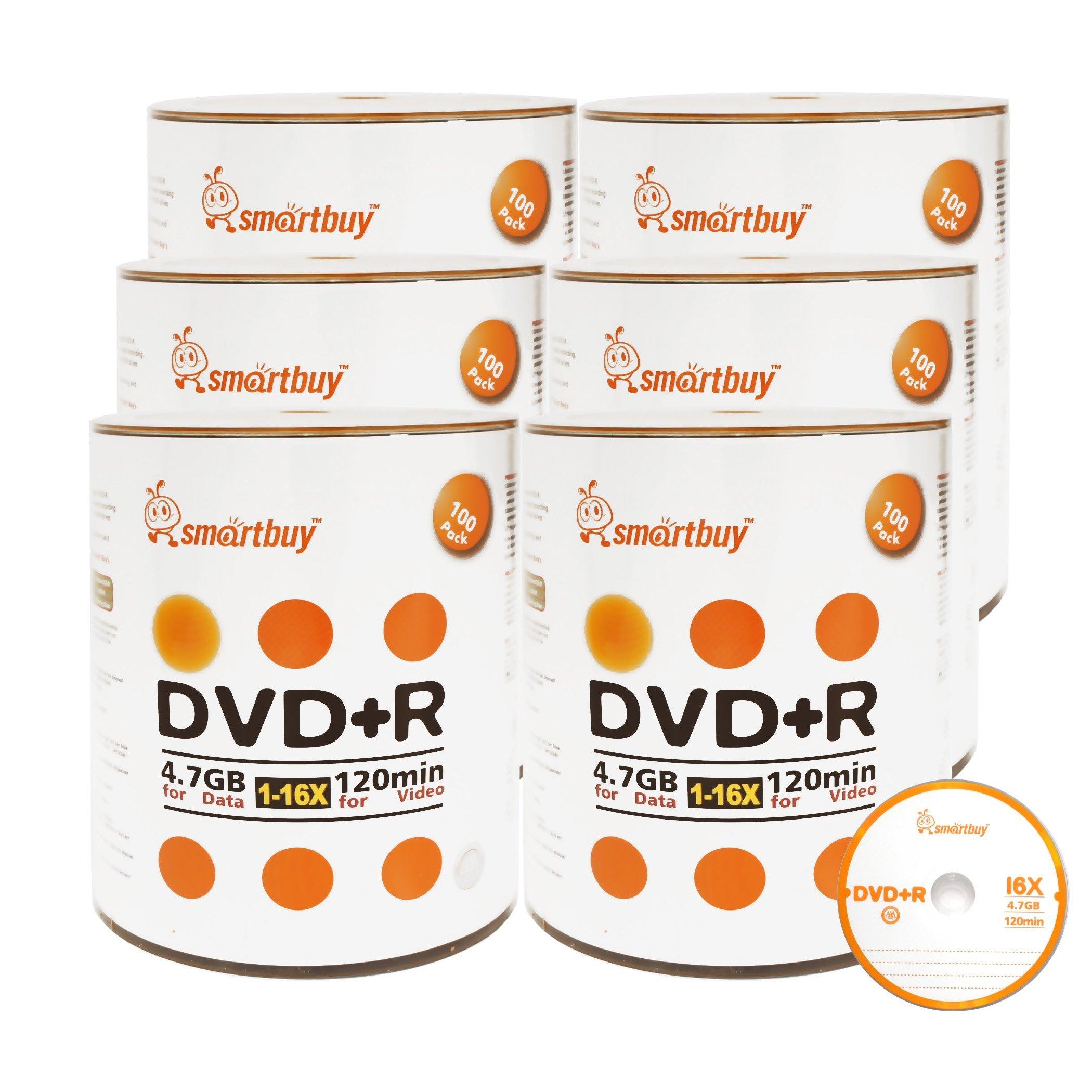 Smartbuy 4.7gb/120min 16x DVD+R Logo Top Blank Data Video Recordable Media Disc (600-Disc)