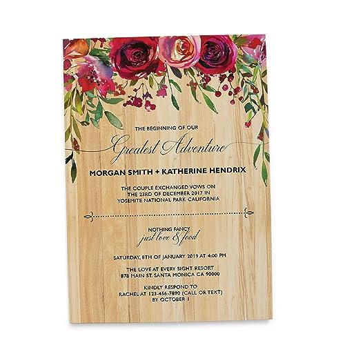 Amazon Com Rustic Wedding Reception Invitation Cards The