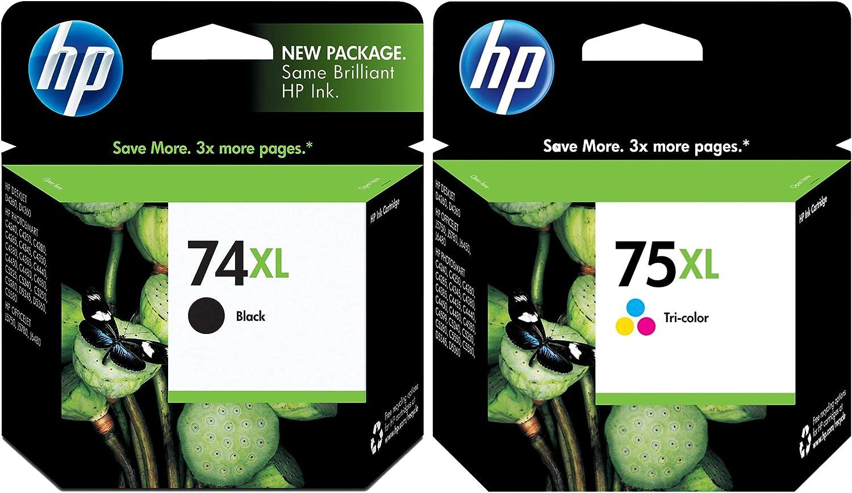 2PKS HP 74XL 75XL CB338WA CB336WA OfficeJet 7500 D4260 DeskJet D2500 D2530