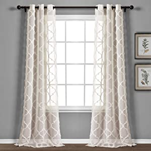 "Lush Decor Beige Avon Trellis Grommet Sheer Window Curtain Panel Pair (84"" x 38"")"