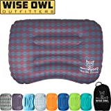 Wise Owl Outfitters Ultralight Inflatable Air Camping Pillow – Compressible Compact Inflating Small Travel Pillows for Sleeping Backpacking Hammock Car Camp or Beach with Smart Push Button Air Valve