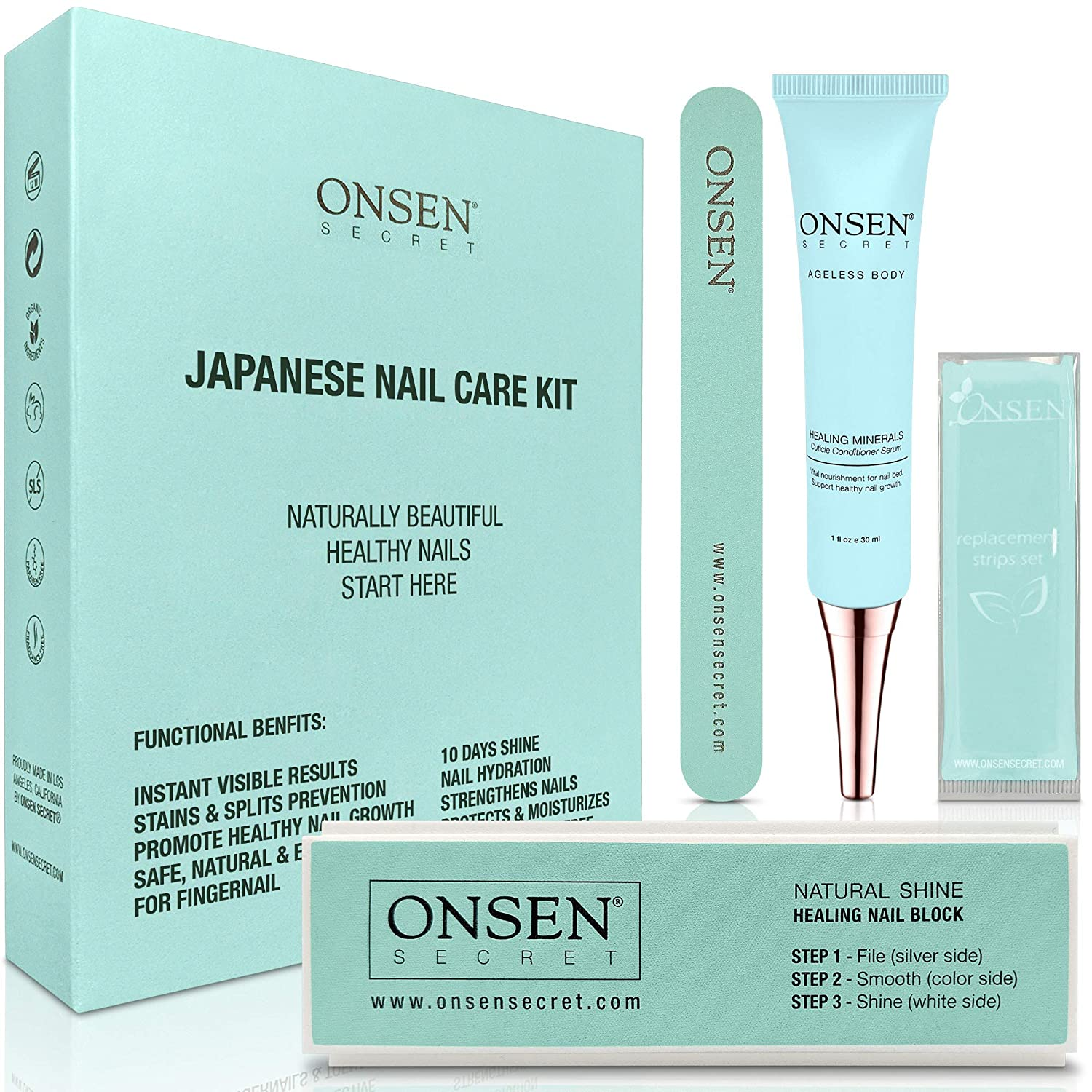 Onsen Japanese Nail Buffer and Shine Kit - Professional Nail File, 3-Way Nail Buffer Block with Free Replacement Pads and Nail Strengthening Cuticle Cream for Healthy Nails, Travel Size Nail Care Kit : Beauty