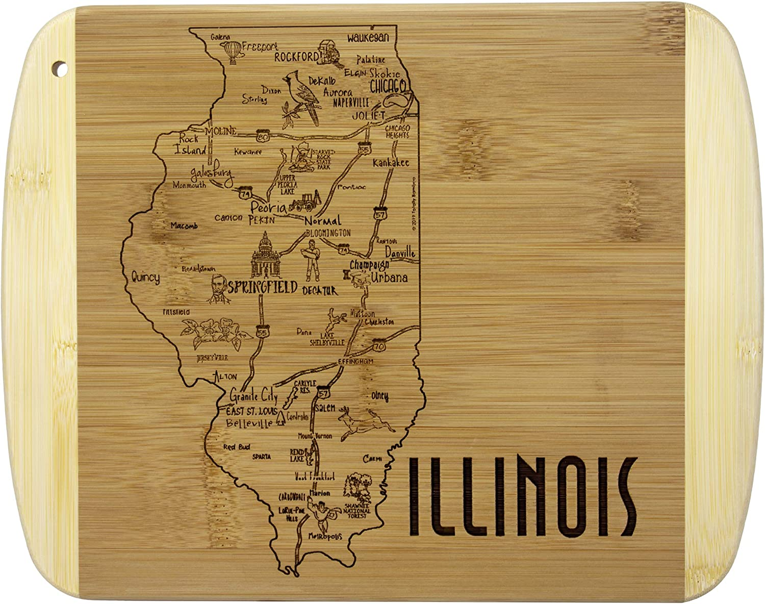 Totally Bamboo A Slice of Life Illinois Bamboo Serving and Cutting Board
