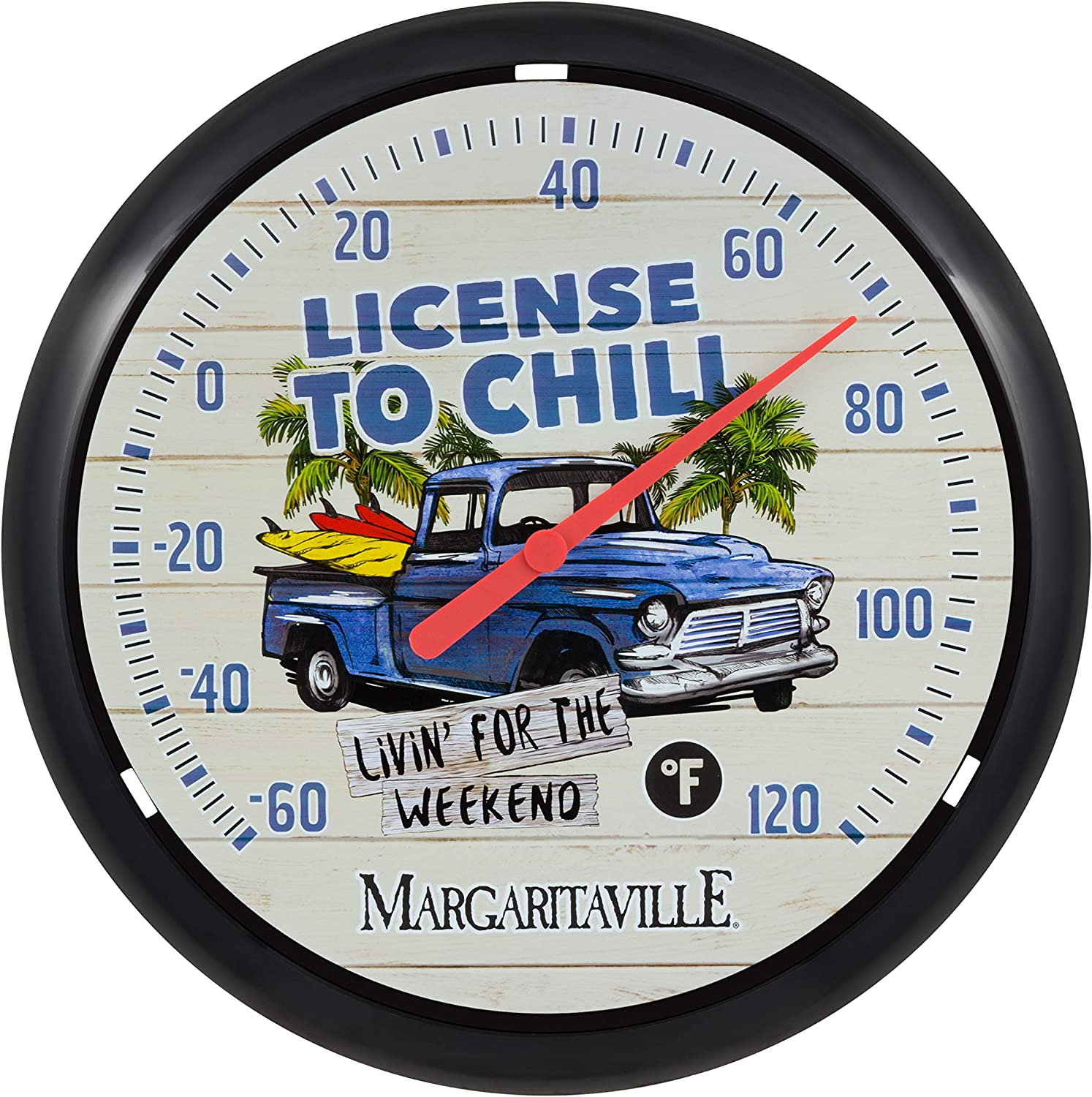 Black La Crosse Technology 104-134B-TBP 13.25-inch License to Chill Margaritaville Analog Dial Thermometer