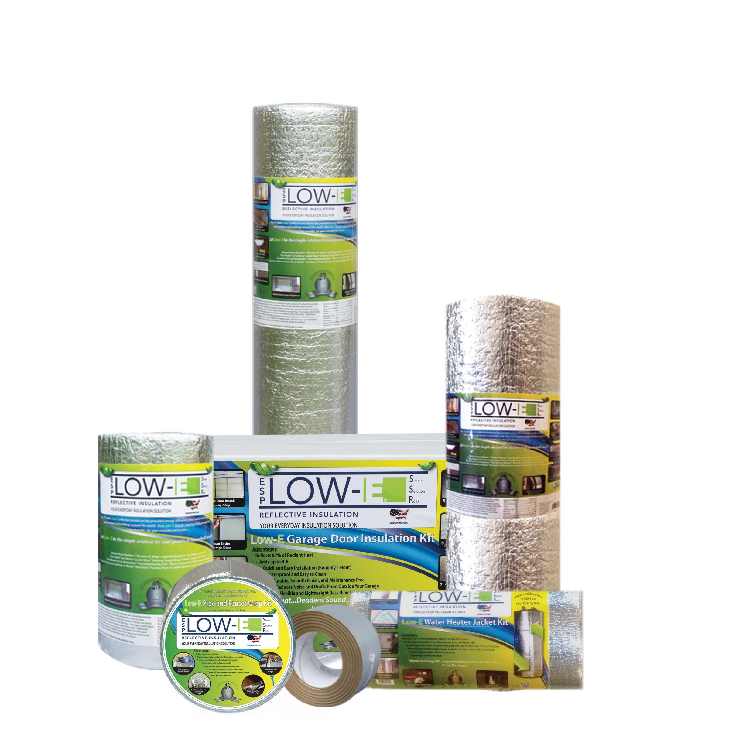 2 PACK Wholesale Lot: ESP Low-E® SSR Reflective Foam Core Insulation Kit: 2 Rolls (Size 48''x50') Includes 50' Foil Tape per roll, Knife & Squeegee. Multipurpose Home Insulation For Your Building Project or Just Every Day Household Needs.
