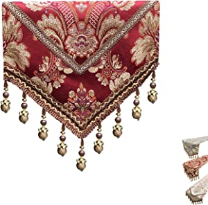 MAGILONA Home Tablecover Bead Decorative Europe Luxurious Cotton Linen Velvet 3D Relief Embroidered Floral Pattern Table Runner Dining Party 13x83 In (Red)
