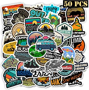 Ehope Outdoor Stickers Wilderness Nature Stickers Water Bottle Hiking Camping Travel Adventure Stickers Laptop Stickers Vinyl Decals for Car Bumper Helmet Luggage Waterproof(50 Pcs Outdoor Adventure)