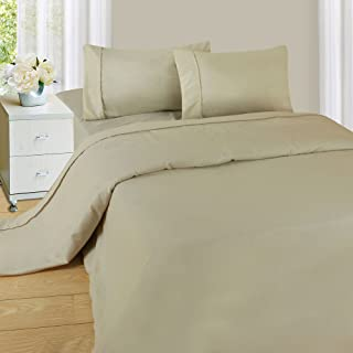 Lavish Home Brushed Microfiber Set-3 Piece Bed Linens-Fitted & Flat Sheets, Plus A Pillowcase-Wrinkle, Stain & Fade Resistant (Twin, Beige), Bone