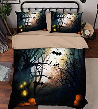 Aj Wallpaper 3d Kürbis Halloween Fledermäuse Dunkle Nacht 4133