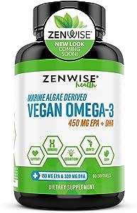 Zenwise Vegan Omega 3 Supplement - Fish Oil Alternative Source for EPA & DHA Fatty Acids - for Joint Support & Immune System - Heart & Skin + Brain Health Booster - Marine Algal Formula - 60 Softgels