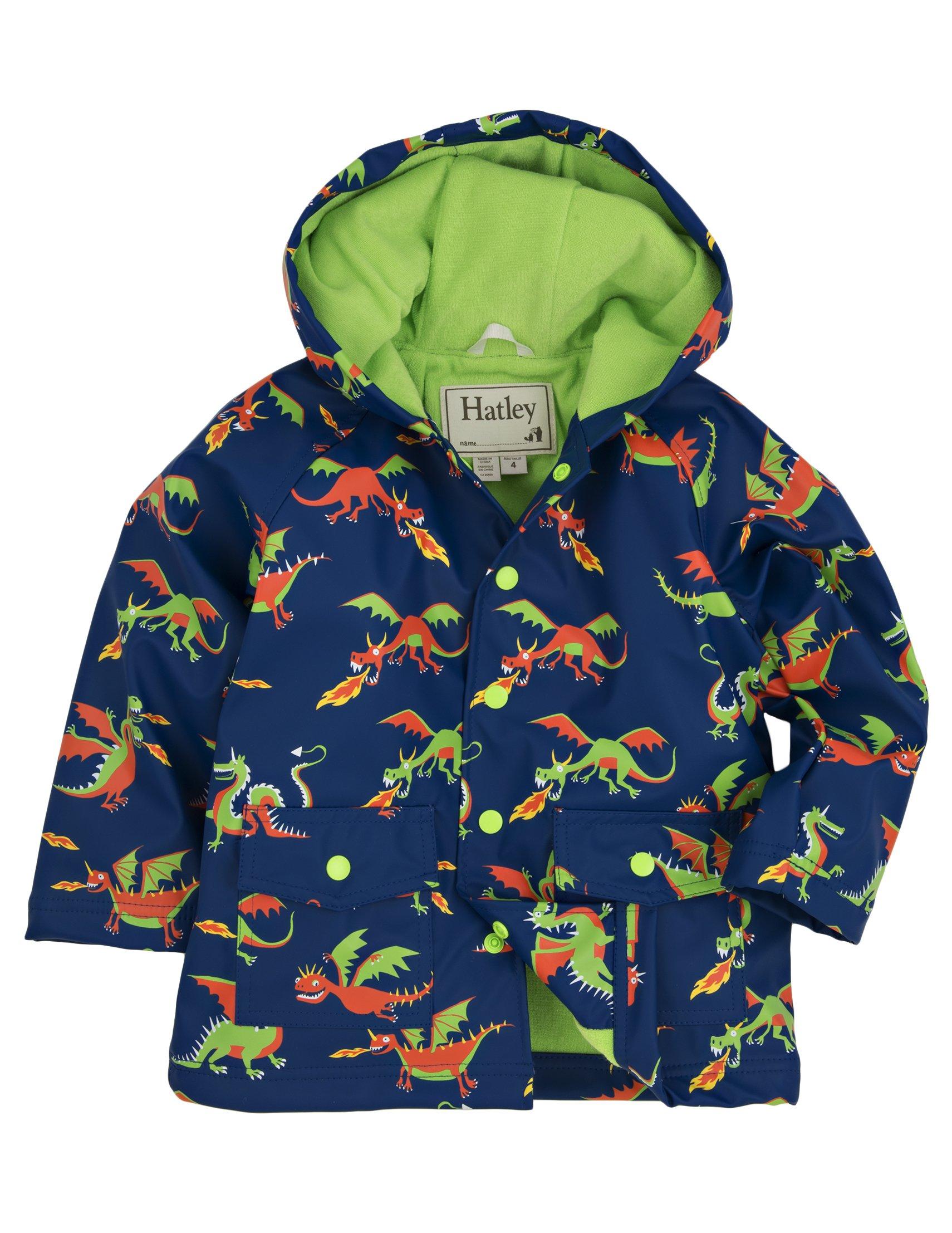 Hatley Little Boys' Rain Coat Dragons, Blue Dragons, 4 by Hatley