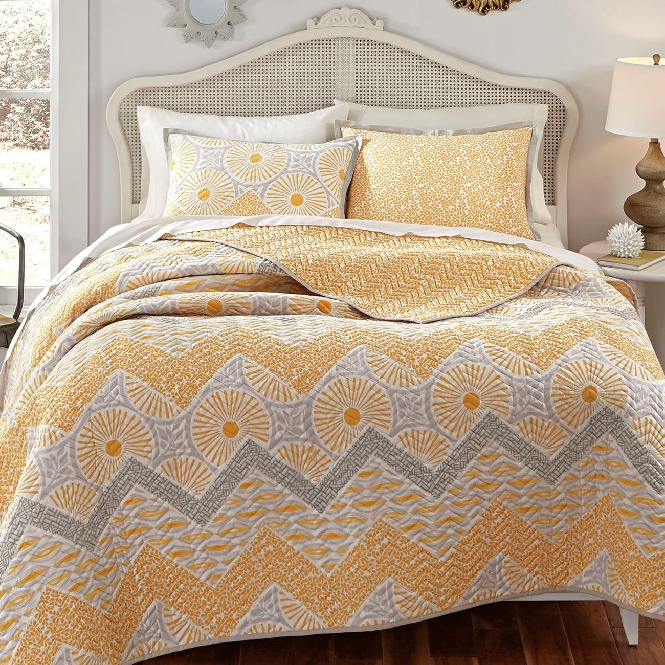 KD Spain Sunnyside Quilt Sham Set, Gold Yellow, Full/Queen