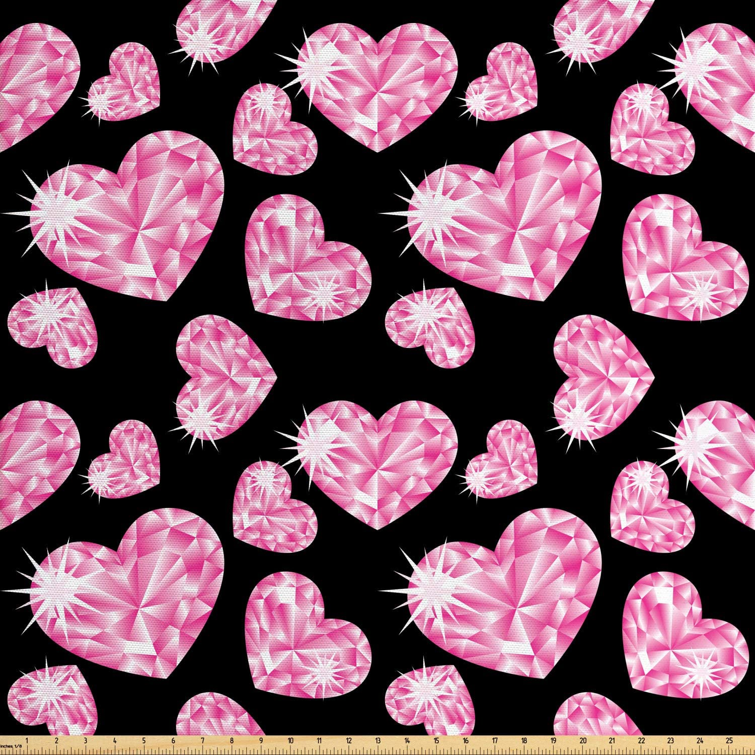 Ambesonne Diamonds Fabric by The Yard, Romantic Pink Heart Stones on Black Background Valentines Day Theme, Decorative Fabric for Upholstery and Home Accents, 1 Yard, Pink Black