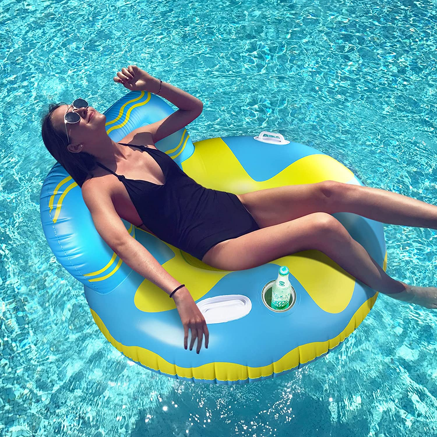 Inflatable Pool Floats, REAPP Pool Float Raft with Cup Holder and Handles, Multi-Purpose Floating Lounge Chair with Headrest, Portable Water Hammock Floaties with Mesh Bottom for Adults/Kids