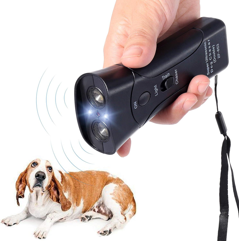 Handheld Dog Repellent & Trainer, Bark Stopper with LED Flashlight,Ultrasonic Dog Deterrent for Safety,Outdoor,Walking, Dog Trainer 100% Pet & Human Safe