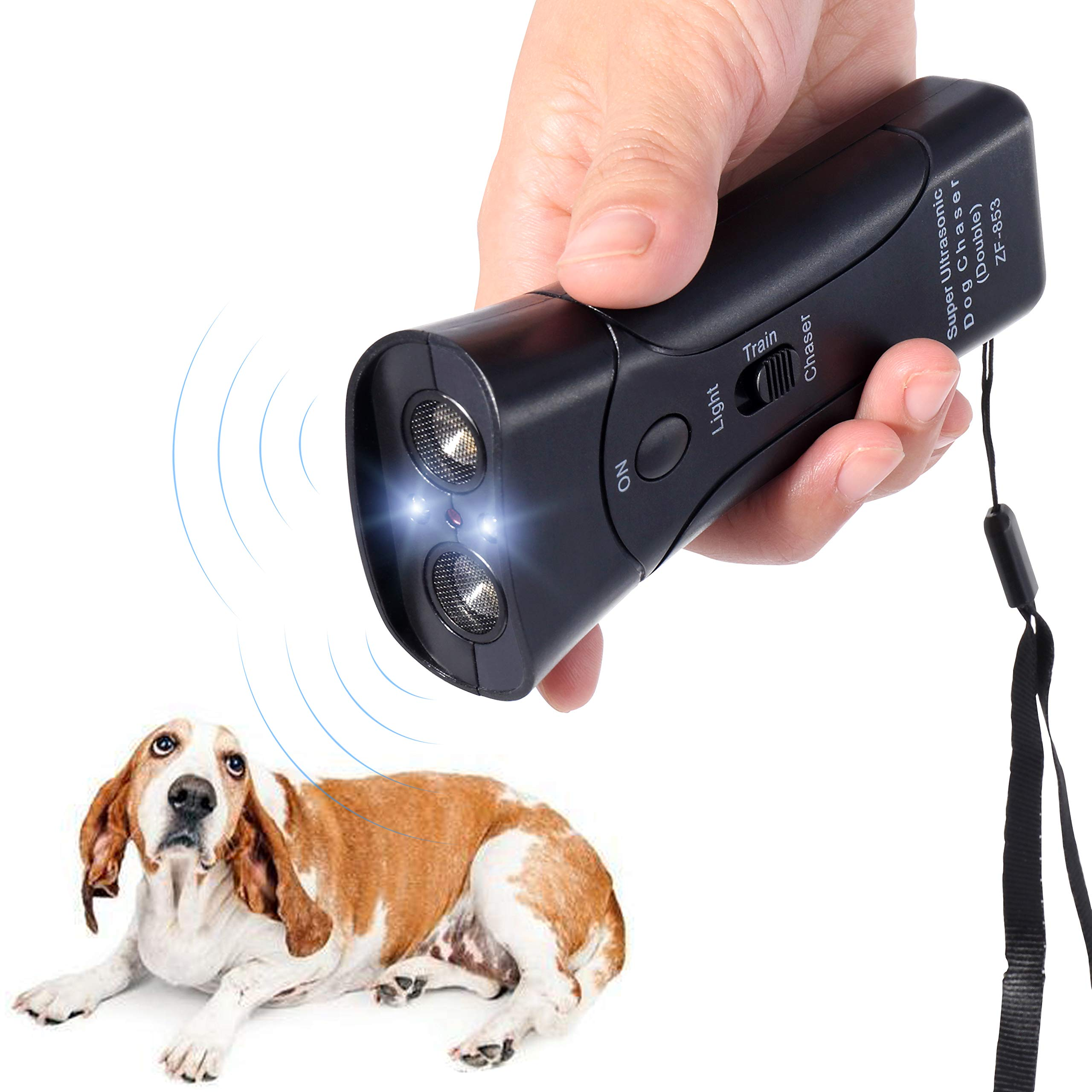 Handheld Dog Repellent & Trainer, Bark Stopper with LED Flashlight,Ultrasonic Infrared Dog Deterrent for Safety,Outdoor,Walking, Dog Trainer 100% Pet & Human Safe by PetUlove