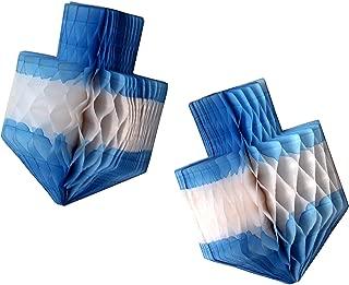 """product image for 3-pack 11"""" Hanukkah Dreidel Honeycomb Party Decoration (Blue/White)"""