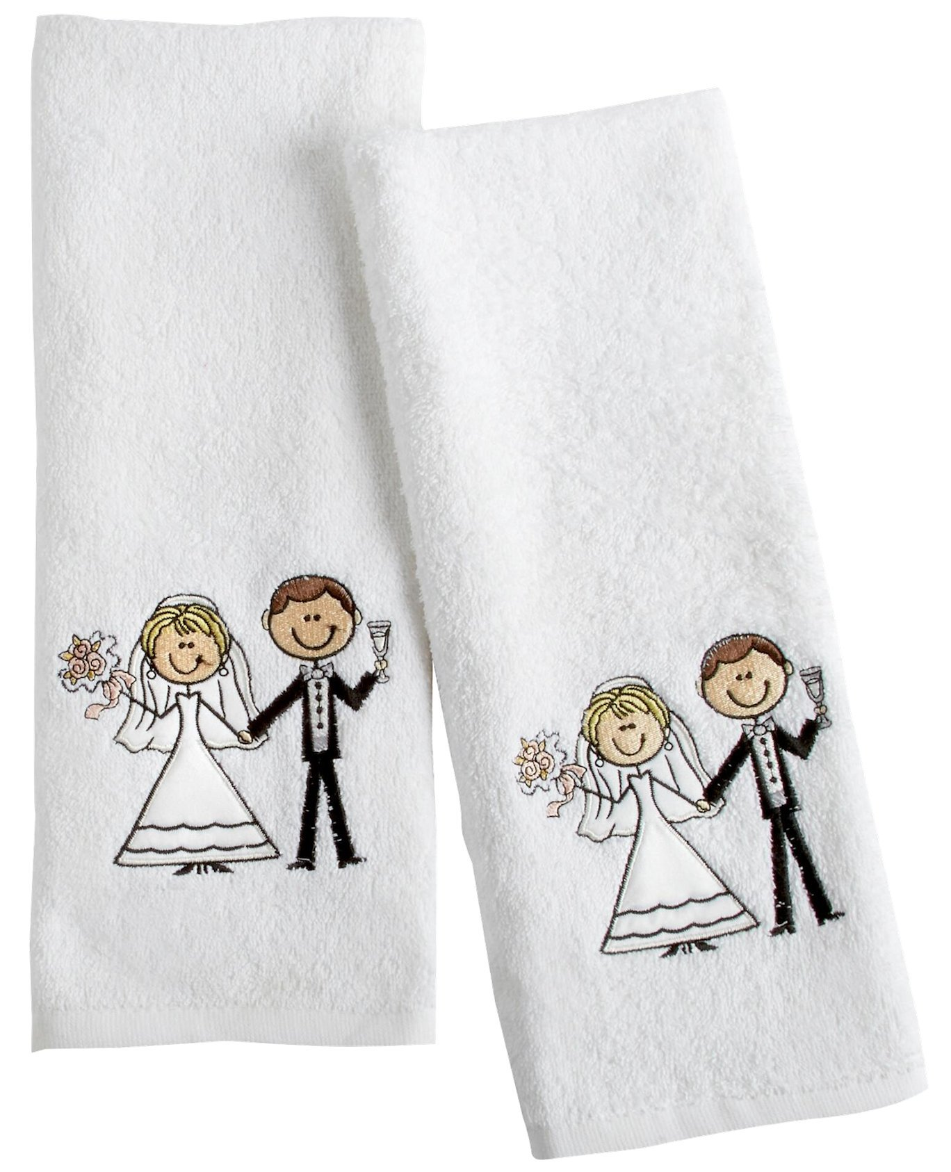 "Bride and Groom Embroidered His and Hers Hand Towel Set, 28""L x 16""W, Each"