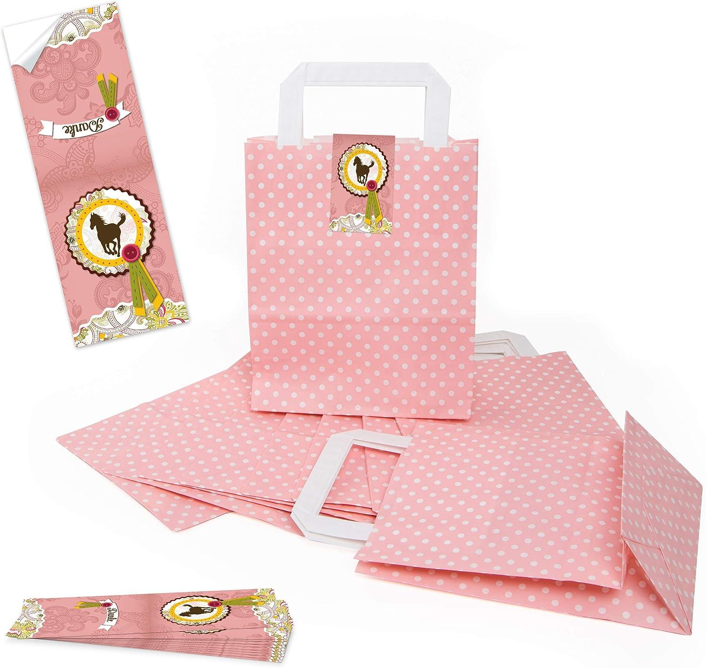 Logbuch-Verlag - Bolsas de papel con diseño de lunares rosa y blanco + banderolas de caballo, medalla de DANKE para niños, envoltorio de regalo, regalo para invitados 10 unidades