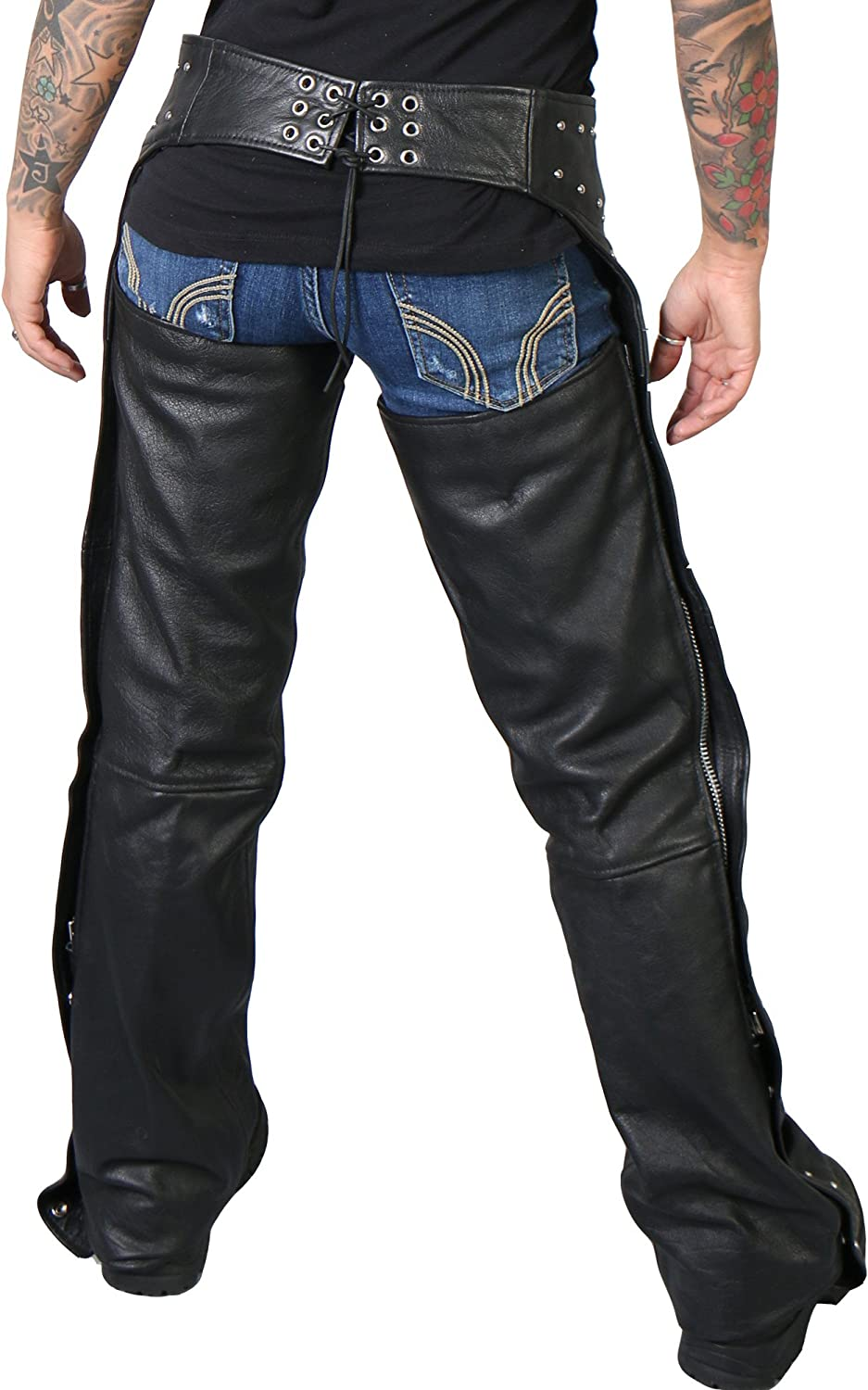 Black, XX-Large Hot Leathers Womens Studded Leather Chaps
