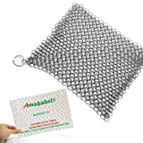 """Amagabeli 8""""x6"""" Stainless Steel 316L Cast Iron Cleaner Chainmail Scrubber for Cast Iron Pan Pre-Seasoned Pan Dutch Ovens Waffle Iron Pans Scraper Cast Iron Grill Scraper Skillet Scraper"""