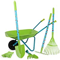 Legler Small Foot 12014 Large Garden Set with Wooden and Metal Wheelbarrow 7-Piece Outdoor Toy Set, Multi-Colour