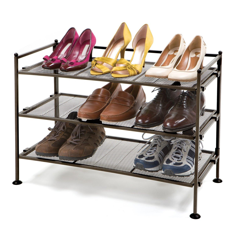 Amazon.com: Seville Classics 3 Tier Iron Mesh Utility Shoe Rack, Satin  Bronze: Home U0026 Kitchen