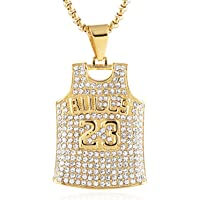 "HZMAN Mens 18k Gold Plated Iced Out CZ Basketball Jersey 23 Number Pendant Hip Hop 24"" Chain (Gold)"