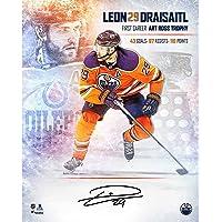 "$119 » Leon Draisaitl Edmonton Oilers Autographed 16"" x 20"" 2020 Art Ross Stylized Photograph - Limited Edition of 129 - Autographed NHL…"
