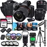 Sony Alpha a7 III Mirrorless Digital SLR Camera with 28-70mm & 50mm f/1.8 Lens Kit + Prime TTL Accessory Bundle with 128GB Memory & Photo/Video Editing Software