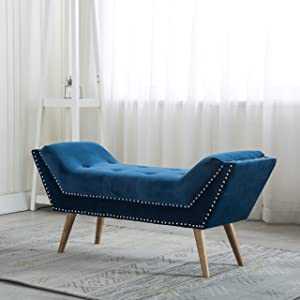 Tufted Upholstered Bedroom Bench, Fabric Rustic Ottoman Footstool for End of Bed/Living Room/Entryway/Hallway (Navy Blue)