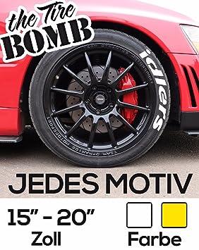 Adhesivos para ruedas Tire Bomb en color blanco o amarillo