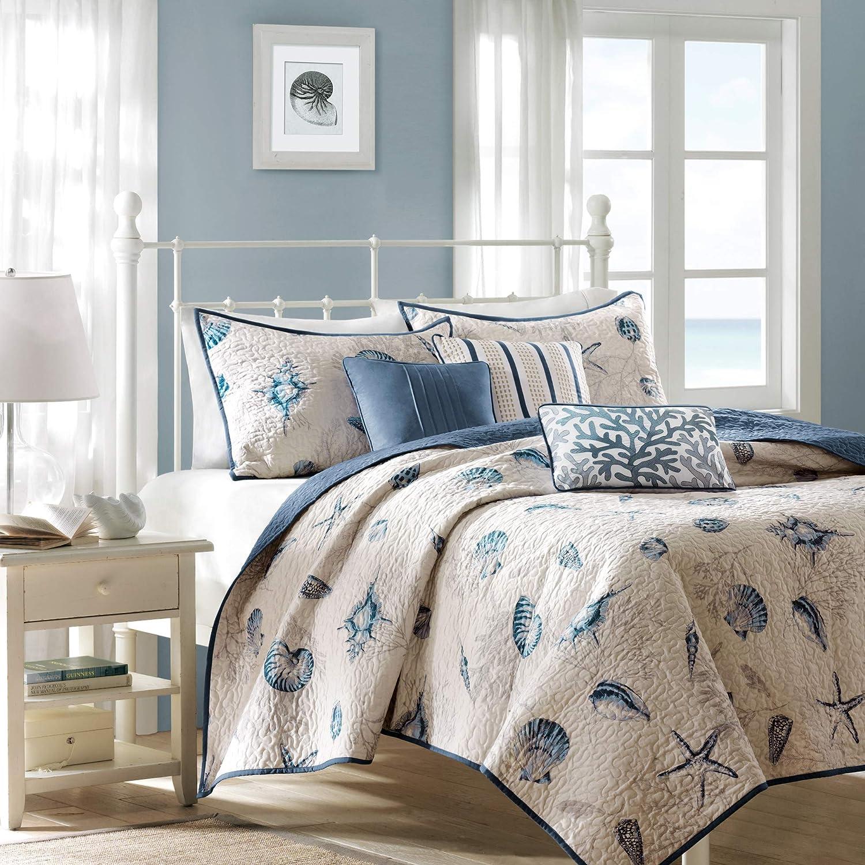 Free Spirit Cape Cod Seaside Sailing Nautical Bedding Comforter Set, Multi-Colored, Queen
