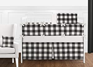Sweet Jojo Designs Black and White Rustic Farmhouse Woodland Flannel Buffalo Plaid Check Baby Unisex Boy or Girl Nursery Crib Bedding Set with Bumper - 9 Pieces - Country Lumberjack