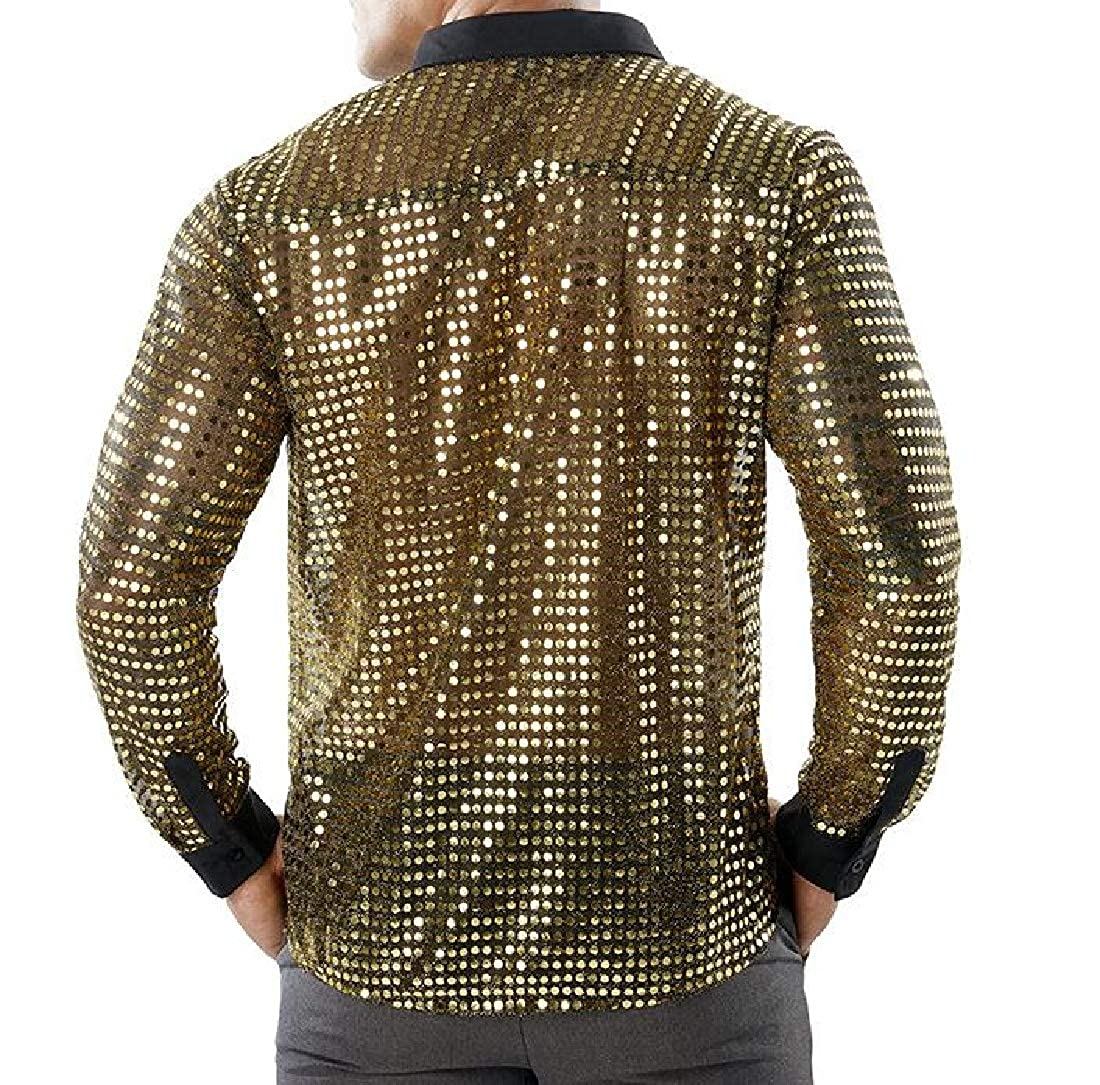YUSKYMen Long-Sleeve Sequin Glitter Mesh Nightclub Style Western Shirt