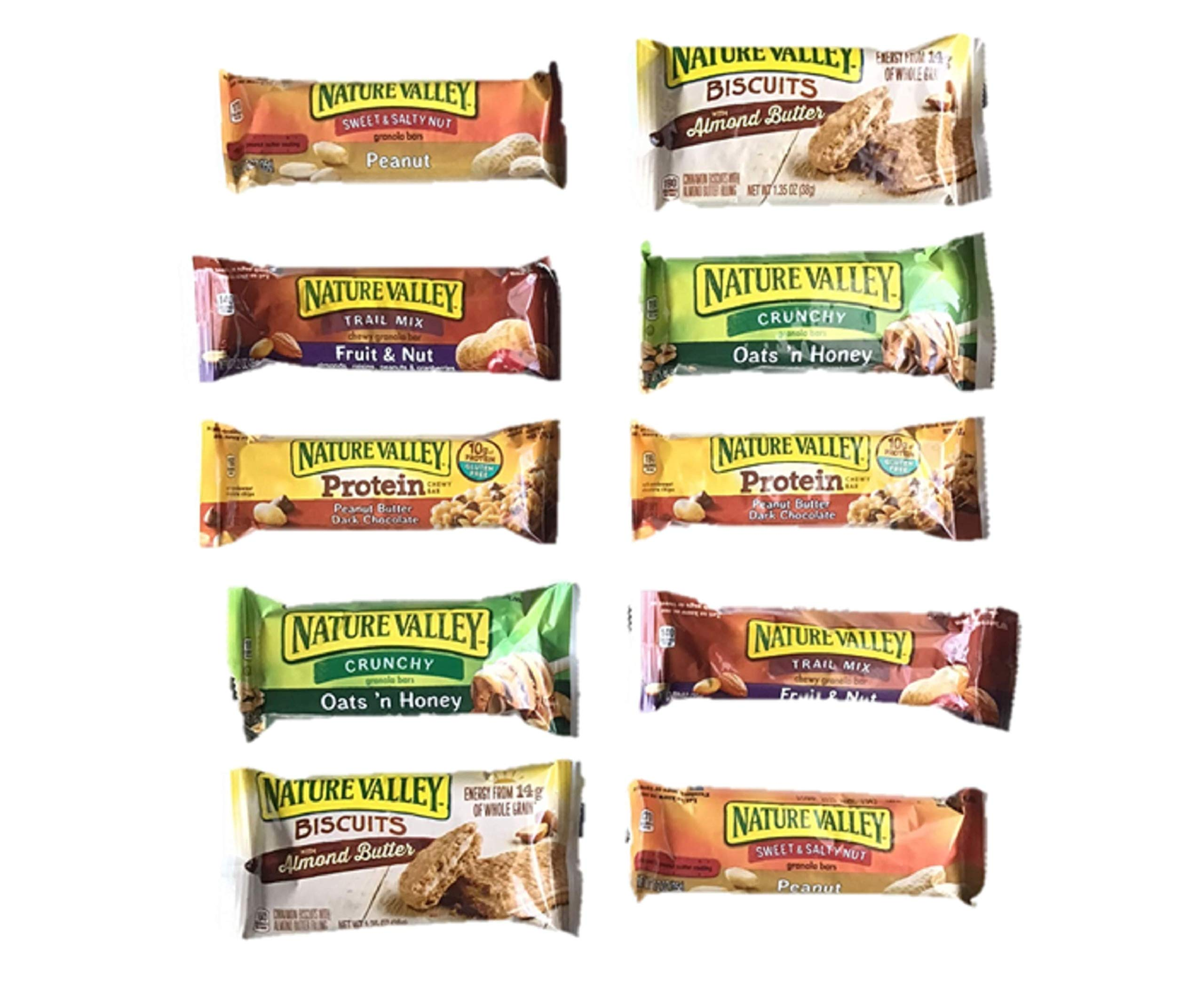 Nature Valley granola bars variety pack, 10 snack bars, 5 flavors, protien fruit and nut, oats and honey, biscuits, peanut, almond by IW