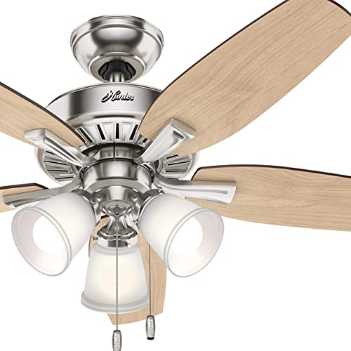 Hunter Fan 48 inch Traditional Brushed Nickel Indoor Ceiling Fan with LED Light Kit Renewed
