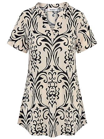 b92fb98b235d Sixother Summer Henley V Neck Short Sleeve Flowy Floral Women Tunic ...