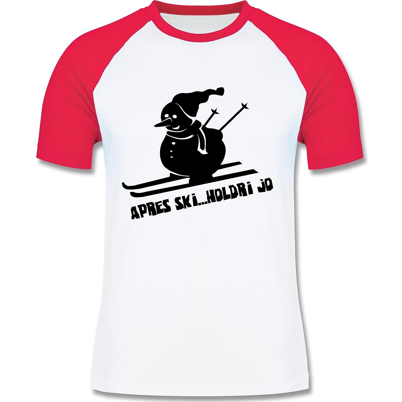 Après Ski - Ski Schneemann - zweifarbiges Longsleeve / Baseballshirt für Männer