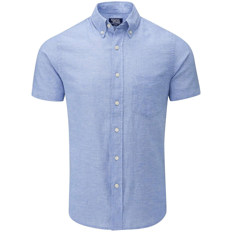 Charles Wilson Men's Short Sleeve Linen Shirt