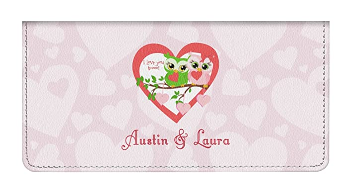 8aba1cb2d7f Valentine Owls Genuine Leather Checkbook Cover (Personalized) at ...