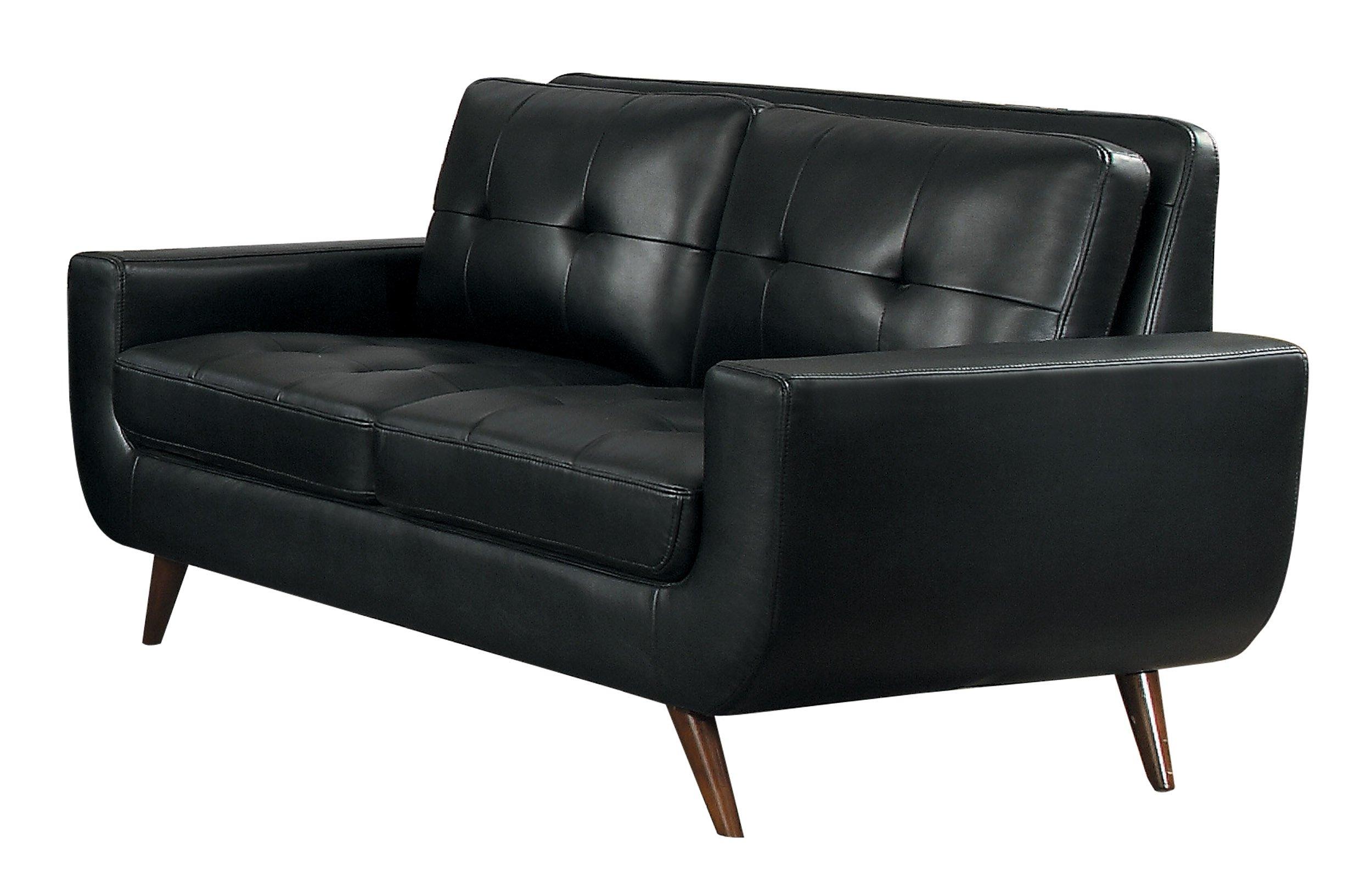 Homelegance Deryn Mid-Century Modern Loveseat with Tufted Back Leather Gel Matched, Black