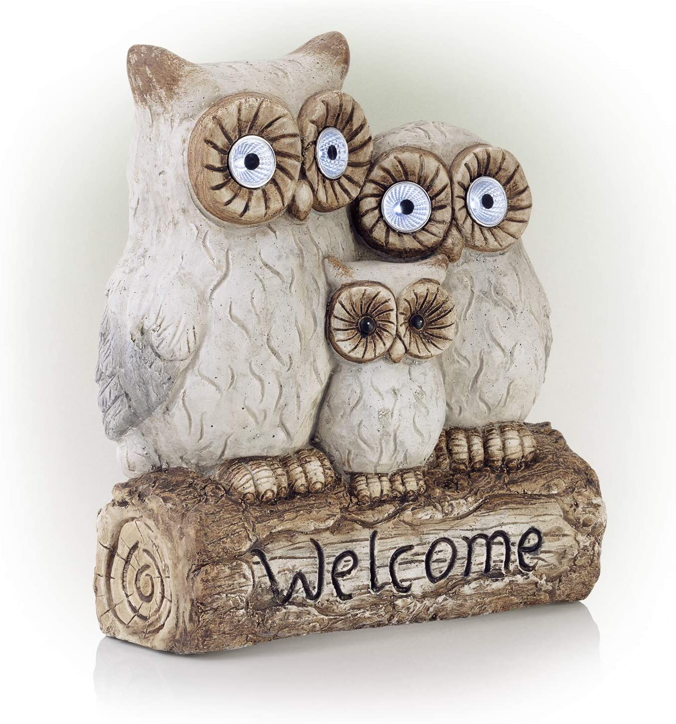 "Alpine Corporation Benzara ALP-QWR476SLR 16"" Solar Owl Family Welcome Statue Animal Statue"