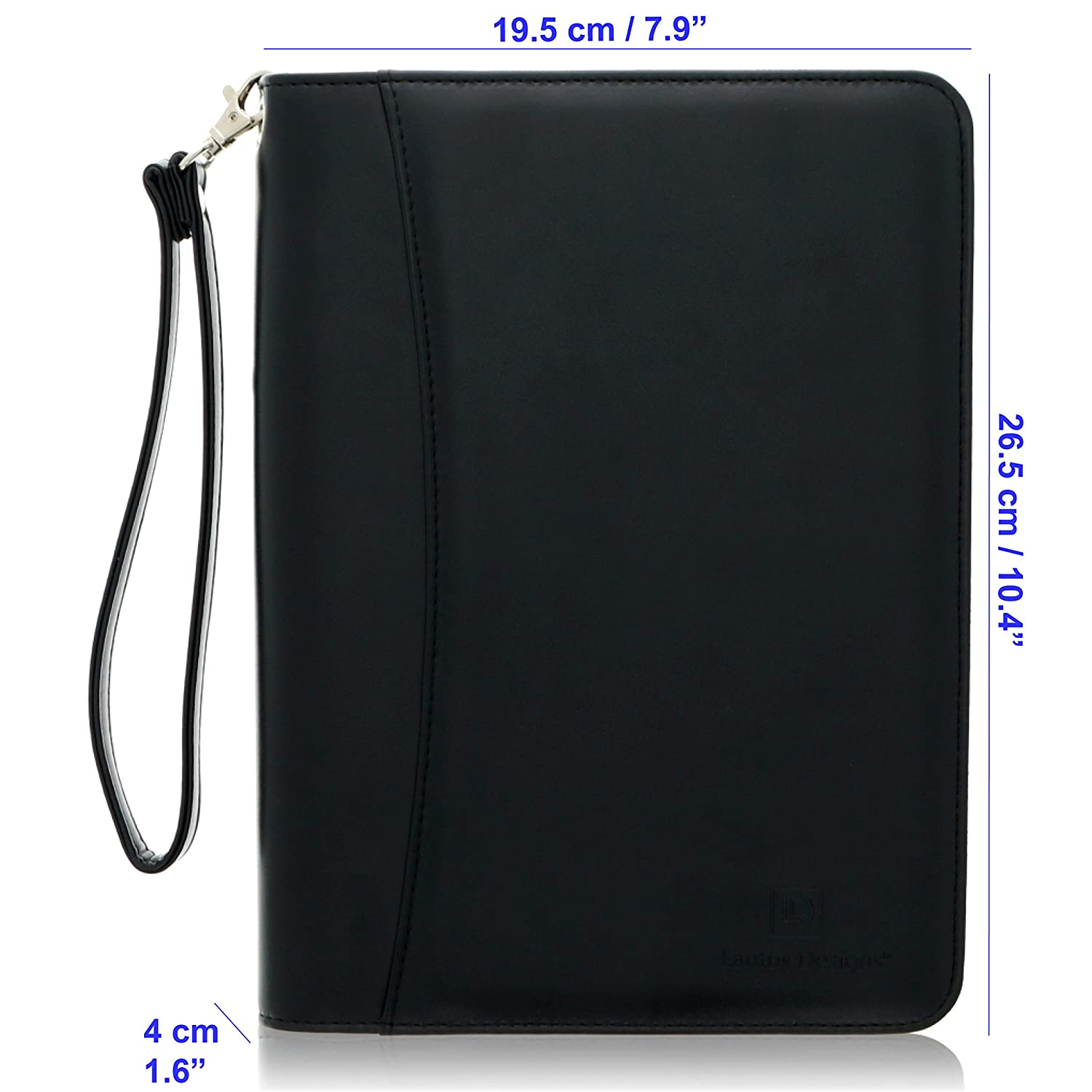 2313bd658d Junior Zippered Padfolio with A5 Notepad - Black PU Leather Business  Portfolio Binder   Organizer Folder with 8 Inch Tablet Sleeve by Lautus  Designs  Sigel ...