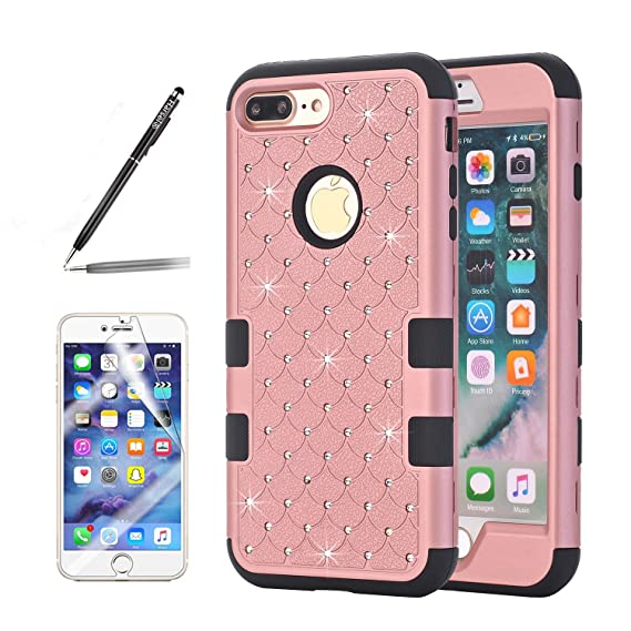 new products bb548 74a4c iPhone 8 Plus Bling case, Harsel [Shock Absorption] Ultra Slim Fit Studded  Rhinestone Bling Glitter Impact Resistant Rugged Hybrid Armor Defender Case  ...