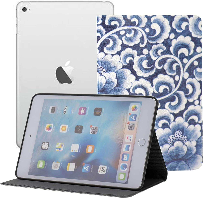 IpadMiniLaptopCase Ancient Chinese Blue and White Porcelain TabletMiniIpadCover Ipad Mini 1/2/3 Auto Sleep/Wake with Multi-Angle Viewing for Ipad Mini 3/ Mini 2/ Mini 1