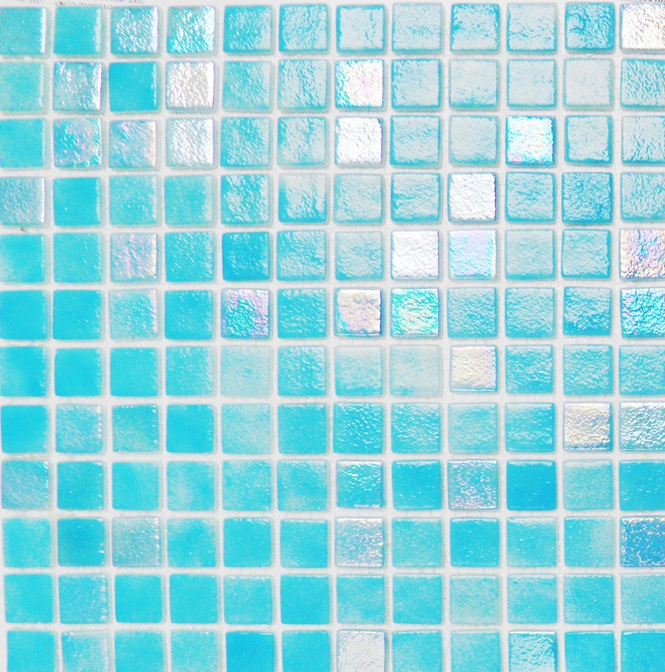 Vetro Mosaico N1205+IN1205 Mosaico de Vidrio, Mezcla Azul Claro y Nacarado