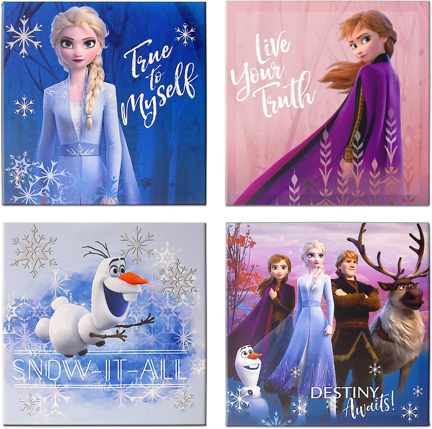 Disney Frozen 2 4 Pack Canvas LED Wall Art, Eachpiece Measures 11.4